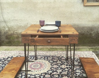 "Extension Wooden Dining Table ""Davide"", reclaimed wood, hairpin legs, two drawers"
