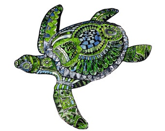 Items similar to Sea Turtle Print (Trippy Colorful ...