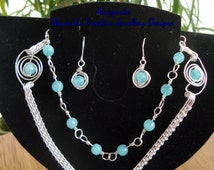 Amazonite faceted bead set.