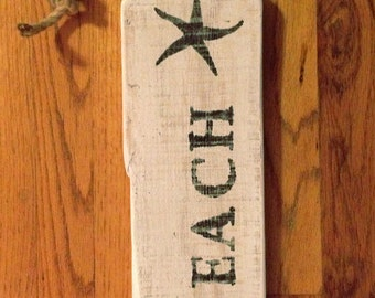 Cottage Chic Beach Sign with Jute Rope for hanging