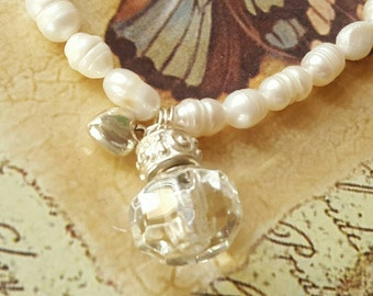 Fresh Water Pearls w/ Fillable Crystal | Cremation Jewelry | Keepsake Bracelet | Cremation Bracelet | Urn Bracelet | Urn Jewelry