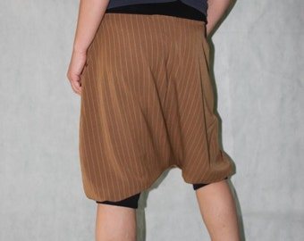 Bloomers, Pinstripe, Pants, Harem Pants, brown,