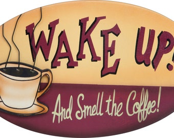 """Coffee Vintage Look Reproduction 7""""x12"""" New Oval Aluminum Sign"""