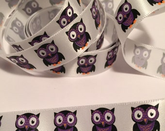 Purple  Owl Halloween Ribbon-Samples by the yard/36 inches