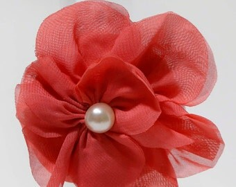 Coral, chiffon flower headband. Gifts for her, photography prop, gifts under 6.00, pearl accented flower, cottage chic, shabby chic
