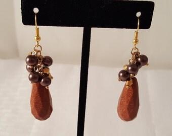 Stone Cluster Earrings - Women's Cluster Earrings - Stone Earrings - Brown Earrings - Purple Earrings - Gold Earrings - Women's Earrings