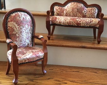 Vintage Large Doll/Toy/Dollhouse Sofa and Chair