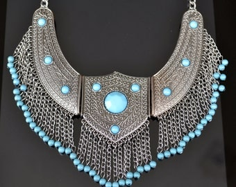 Bib Necklace, Silver Necklace, Silver Bib Necklace, Blue Necklace, Tribal Necklace, Ethnic, Boho (642)