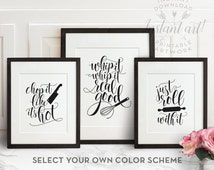 Funny kitchen art set of 3 PRINTABLE kitchen wall decor,printable decor,printable art chop it like it's hot,whip it good,just roll with it