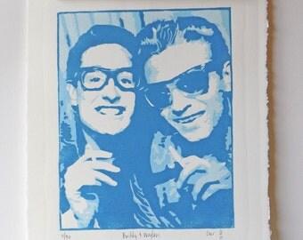 Buddy Holly and WaylonJennings, 1959____4 color woodblock print
