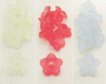 Lucite Flower Bead Mix, Yellow, Dark Pink, Light Blue Lucite Flowers, 11x7, Acrylic Flower Beads, Bead Caps