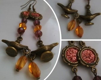 Coral color Aladdin earrings