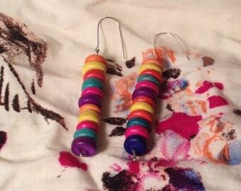 Multicolor Wood Bead Earrings