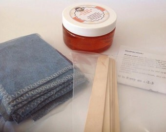 20% sale 10 oz Sugar hair removal gel+2 wooden spatulas+4cotton denim strips
