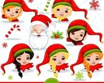 80% OFF SALE Christmas elf clip art, Elf faces clipart, Christmas clipart, Santa clipart, Christmas clip art - CA286