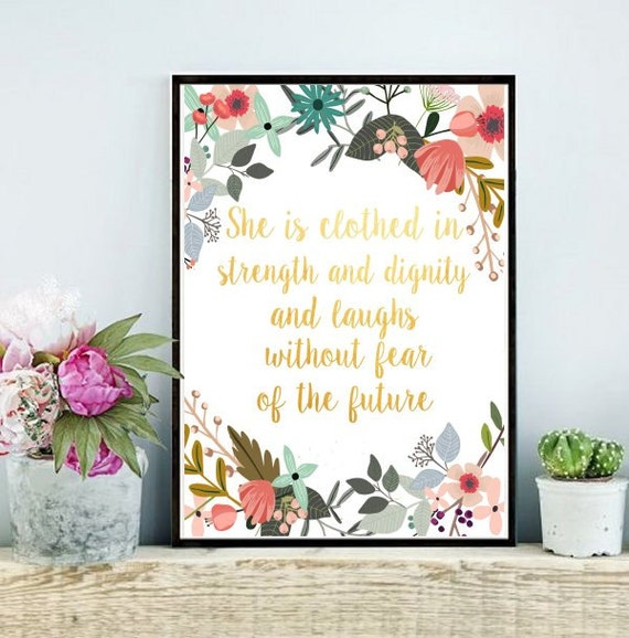 She Is Clothed With Strength And Dignity Canvas: She Is Clothed In Strength And Dignity By PaperStormPrints