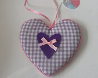 handstitched hanging fabric heart.  purple ginham, home decor