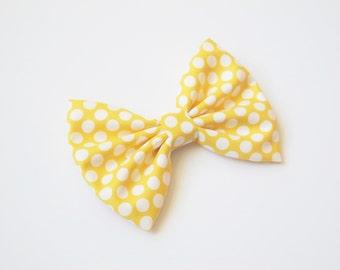 Yellow Polkadot hairbow