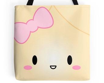 "Dimsum Tote - ""Jumbo Wonton"" [Canvas Tote, Cute Tote, Cute Bag, Kawaii Tote Bag, Foodie Gift, Girlfriend Gift, Food Tote, Christmas Gift]"