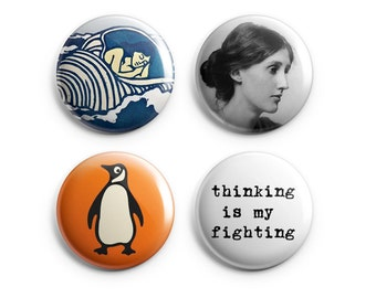 """4 Virginia Woolf buttons - Woolf magnets - Set of 4 (Four) 1.25"""", Woolf quotes, stocking stuffers, literary pins, book lovers (B007)"""