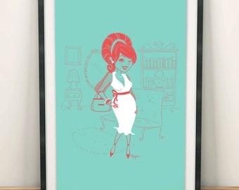 A4 Print - 50's lady in her living room
