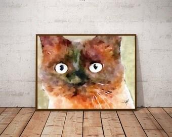 Cat wall hanging, For Her, Cat Portrait, Cat wall art prints, For cat person, Cat art prints, Cat watercolor, Nursery decor, Kids Prints
