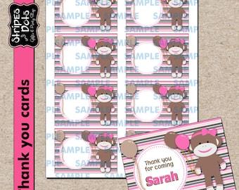 Sock Monkey Printable Labels,Sock Monkey Name Cards,Sock Monkey School Labels,Sock Monkey Thank you Cards,Sock Monkey Party Cards,Name label