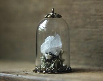 glass dome terrarium with celestine and lichens wicca nature pendant