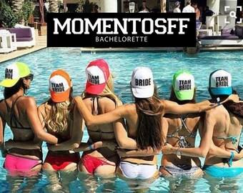 Bundle Bachelorette party Caps, Team Bride Adult Mesh Trucker Hat Cap Snapback Bachelorette Party Girls Weekend Beach