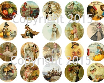 Printed Vintage Thanksgiving Images  Circles Collage Sheet   8.5 x 11 for Decoupage, Altered Art, Scrapbooking etc.