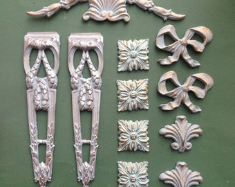 Value mixed lot of eleven mouldings embellishments for shabby chic furniture projects