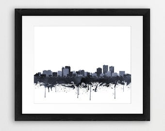 Anchorage Skyline Print, Anchorage Watercolor Grey Black White, Anchorage Alaska Cityscape, Modern Wall Art, Home Office Decor Printable Art