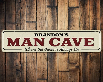 Game Always On Sign, Personalized Man Cave Name Sign, Custom Sports Lover Fanatic Sign, Metal Man Cave Decor - Quality Aluminum ENS1001936