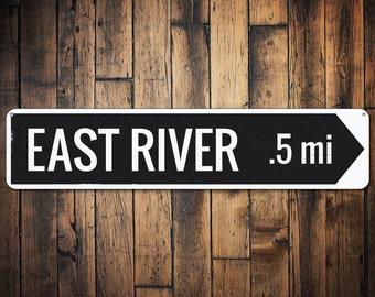 River Location Directional Arrow Sign, Personalized Distance Mileage Metal Sign, Custom Destination Decor - Quality Aluminum ENS1001738