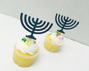 Menorah Cupcake toppers. 10 ct. cupcake toppers.