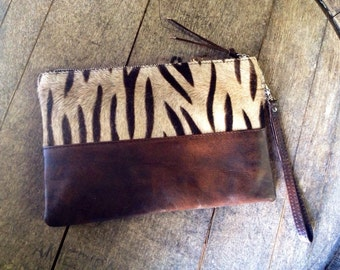 Zebra Animal Print Cow Hide Leather Fur Wristlet / Clutch / Hand Purse