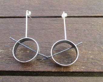 Silver earrings with rings