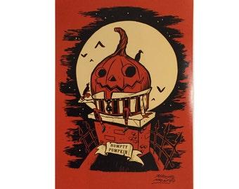 Humpty Pumpkin 12 x 18inch signed Halloween art print by Rhode Montijo