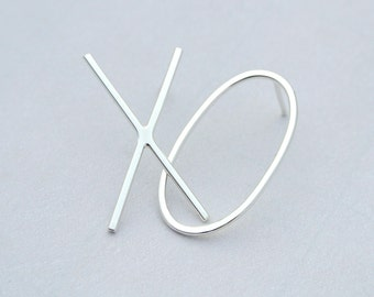 X O Maxi Studs, Mismatched Earrings, Hugs & Kisses, Eco Friendly Solid Sustainably Sourced Sterling Silver, Solid 9K GOLD, unique minimetal