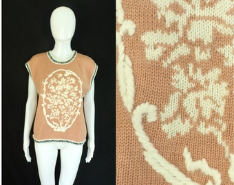 60%OFF Aug26-29 womens sweater vest size medium, 80s vest, wool acrylic, womens waist coat, 1980s sweater, pink blue, damask, sleeveless