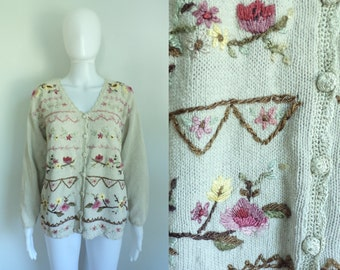 80s floral embroidered cardigan sweater ramie cotton knit v-neck button down cardigan flower embroidery sweater womens jumper small