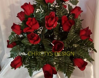 Beautiful, Full Red, Micro Peach Roses Cemetery Flowers for a 3 Inch Vase.