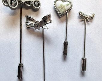 Lot of 4 Vintage Stick Pins Car Heart Bow Trifari