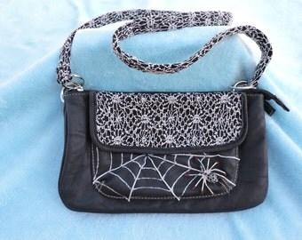Purse with Spider and Web, Women's black handbag, crossbody purse