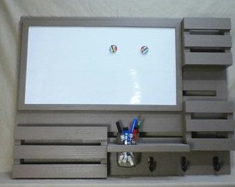 Magnetic Dry Erase Board - Mail Organizer - Message Center - Key Hooks - Coat Rack - Jar