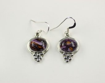 Native American Indian Jewelry Handmade Sterling Silver Purple Spiny Oyster Dangle Earrings