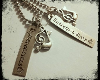 Flight of the Conchords - BFF/ couples necklaces - Hiphopopatamous and Rhymenoceros -