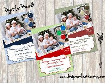 Fancy Bulbs Digital Christmas Photo Card