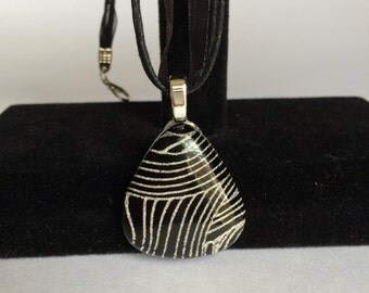 Black and White Dichroic Glass Fused Pendant