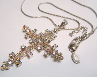 Kirks Folly Clear and Aurora Borealis Pink and Orange Crystal Rhinestone Cross Pendant and Necklace